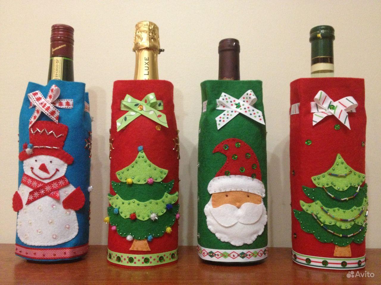 Упаковка бутылок на новый год