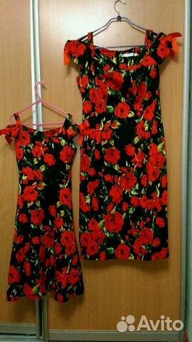 Комплект платьев мама50р-р+дочка 146 оост