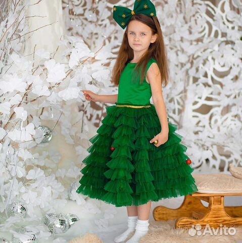 774bdd155f5 Платье детское зеленое елочка елка