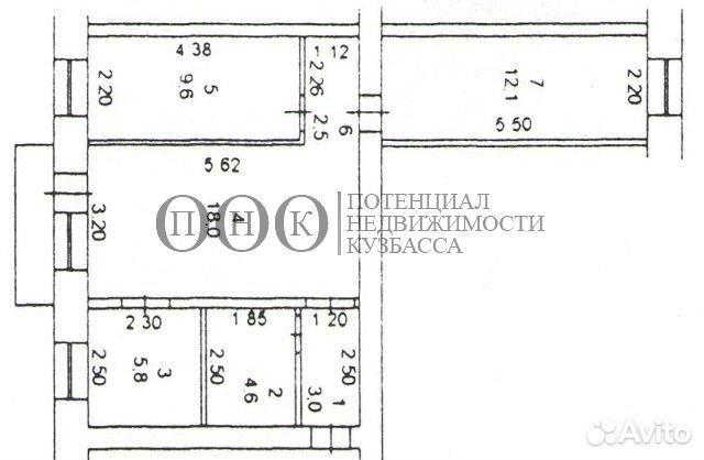 Продается трехкомнатная квартира за 2 800 000 рублей. Кемеровская область,Кемерово,Центральный,,Дзержинского, 12.