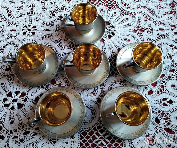 Комплект кофейных чашечек мнц позолота СССР