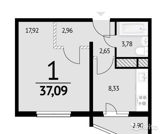 1-к квартира, 37 м², 7/20 эт.