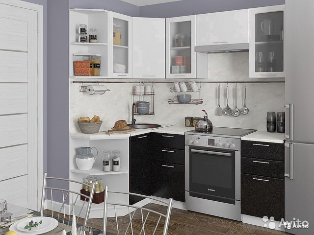 Кухня Валерия-04 Белый металлик / Черный металлик