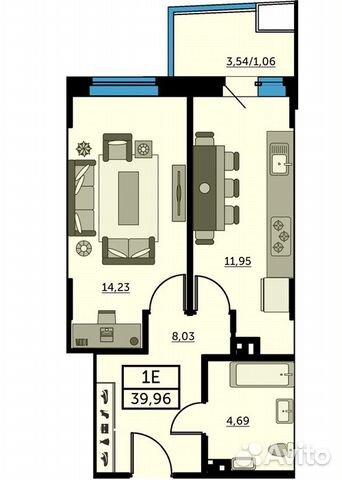 1-к квартира, 39.6 м², 23/25 эт. купить 1