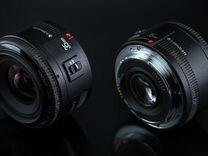 Объектив Yongnuo 35 mm f2.0 EF Canon + переходник