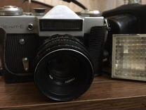 Пленочный фотоаппарат Зенит -Е со вспышкой