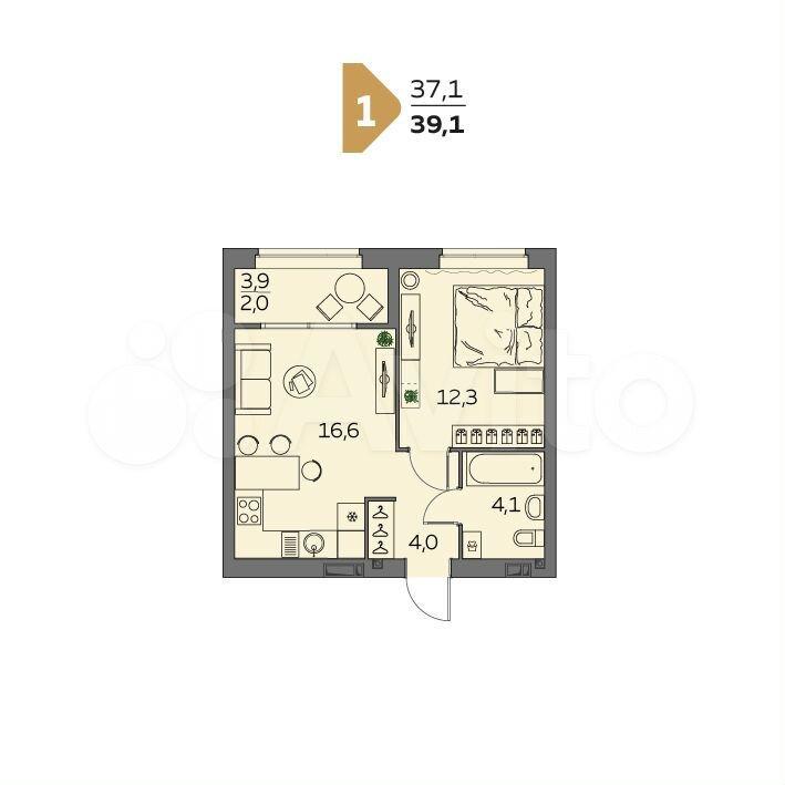1-к квартира, 39.1 м², 20/23 эт.  89880013578 купить 2