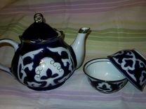 Чайник заварочный + 2 пиалы. Узбекский фарфор